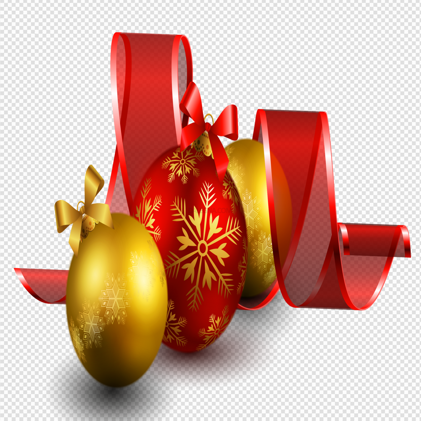 Red Christmas Ornaments PNG Transparent